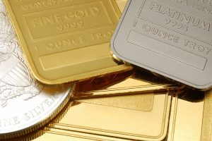 Gold, Platinum and silver - close-up
