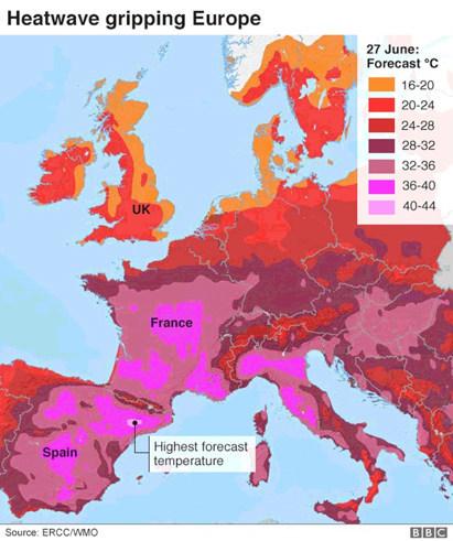欧州における気温分布