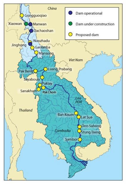 メコン川におけるダム(計画)