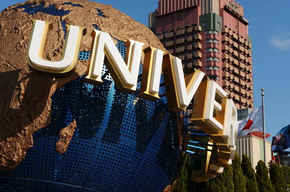 A model of the Universal Studios logo is displayed at the en