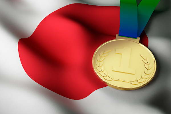 Japanese flag, gold medal