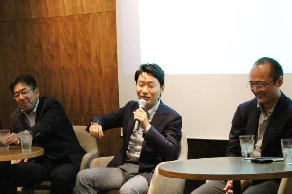 (左から)パネラーの阿部氏(みずほFG)、藤井氏(MUFG)、瀧氏(マネーフォワード)