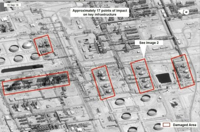 ドローン攻撃を受けたとされるサウジアラムコ社の石油関係施設の衛星写真