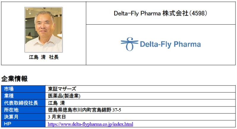 ブリッジレポート Delta-Fly Pharma株式会社(4598)