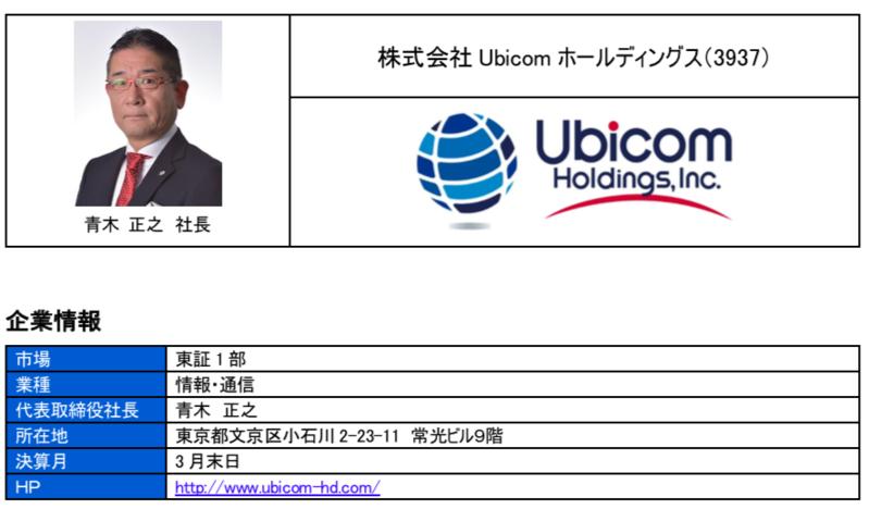 ブリッジレポート 株式会社Ubicomホールディングス(3937)